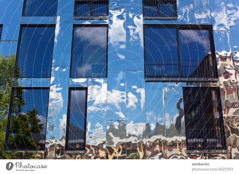 Reflecting facade Architecture Berlin Office City Germany Facade Worm's-eye view Capital city House (Residential Structure) Sky Heaven High-rise Downtown