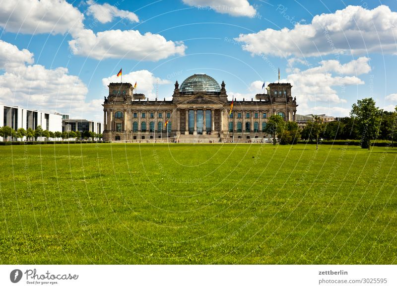 Summer Architecture Meadow Berlin Germany Copy Space German Flag Landmark Capital city Parliament Reichstag Government Seat of government Spree