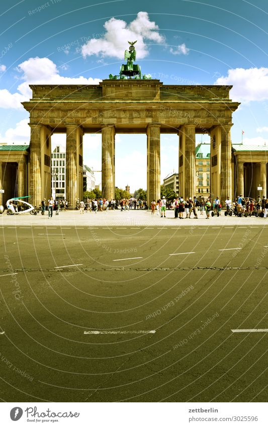 Brandenburg Gate Architecture Berlin Germany Capital city Seat of government Landmark Deserted Copy Space Summer Sky Street Asphalt Tourism Vacation & Travel