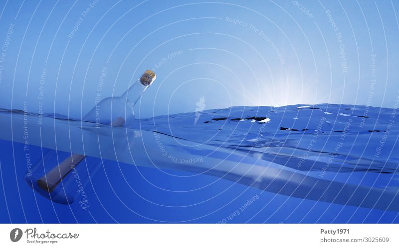 Message in a bottle - 3D Render Nature Water Cloudless sky Ocean Bottle Swimming & Bathing Infinity Wet Blue Adventure Movement Hope Horizon Communicate