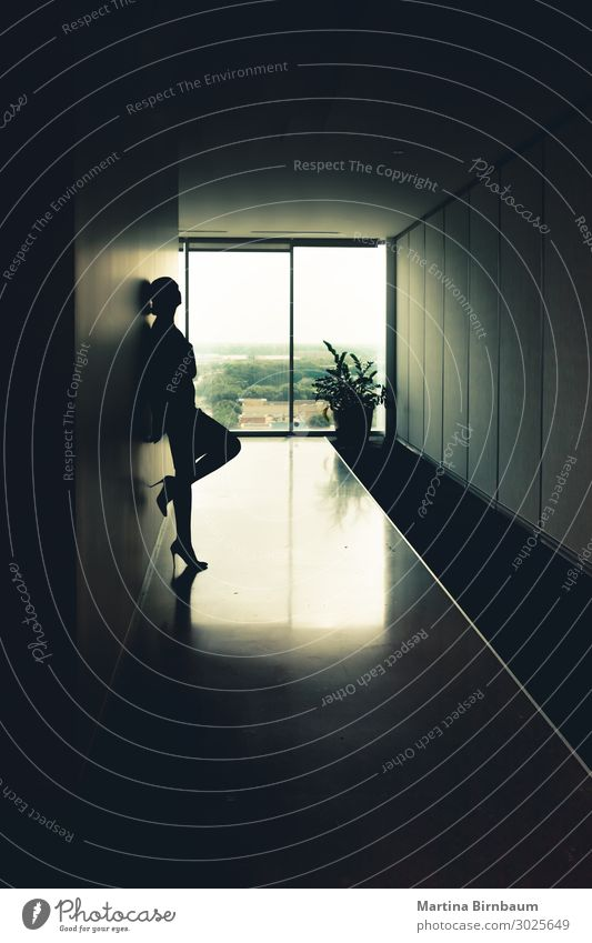 Silhouette of a young attractive woman Office Business Career Human being Woman Adults Building Old Dream Dark Eroticism Bright New room window background
