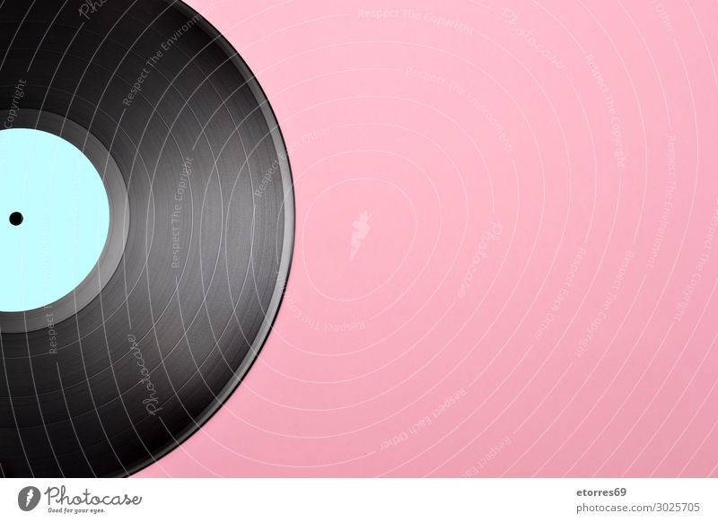 vintage vinyl record disk with empty blue label Old Style Copy Space Playing Pink Retro Music Circle Vintage Analog Disco Classic Sound Record Hipster Disk