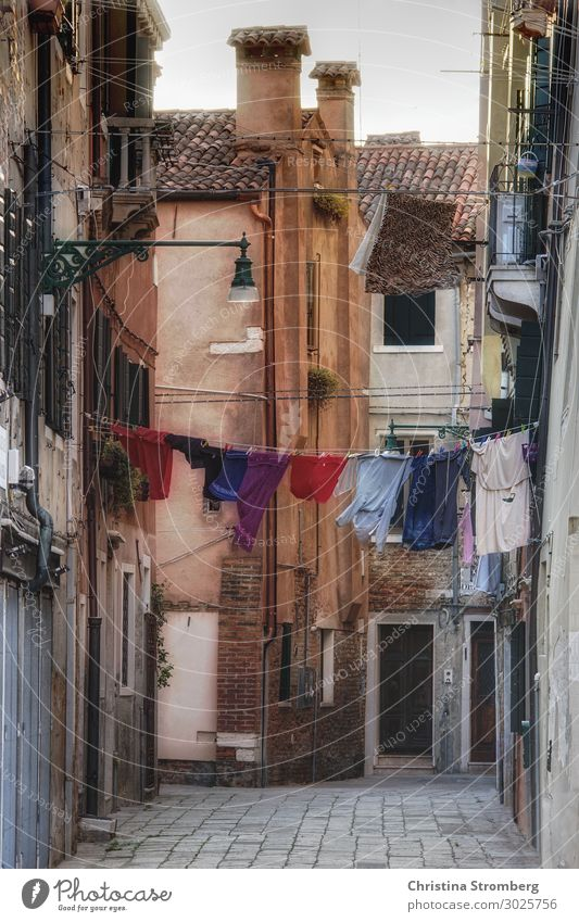 washing day Venice Veneto Italy Italian Europe Town Port City Outskirts Deserted House (Residential Structure) Wall (barrier) Wall (building) Facade Roof