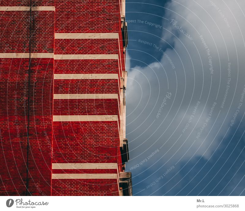 Blue Town White Red Clouds Far-off places Architecture Wall (building) Building Time Wall (barrier) Facade Retro Dirty High-rise Manmade structures