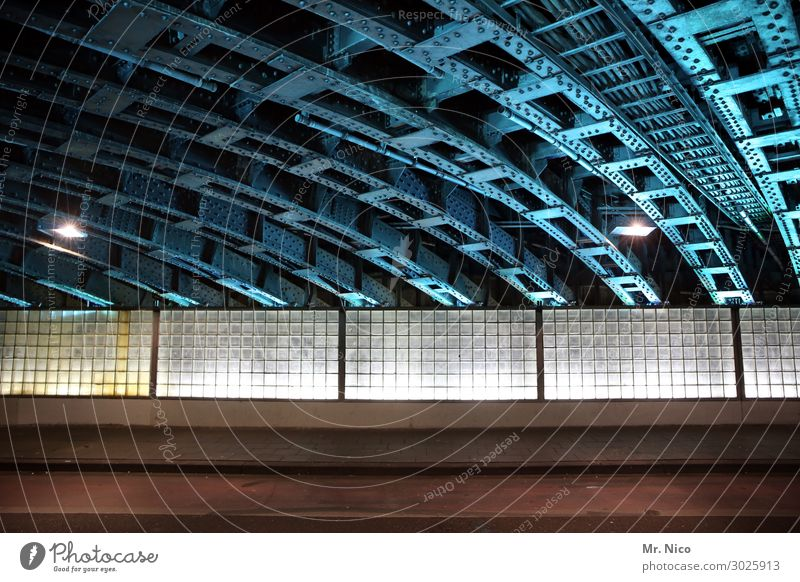 downtown Town Tunnel Manmade structures Architecture Wall (barrier) Wall (building) Facade Traffic infrastructure Lanes & trails Blue Underpass Glass block