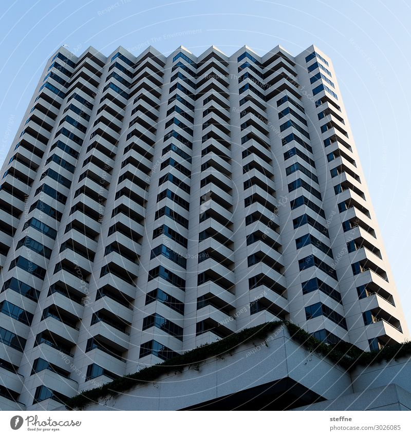 square waved Town High-rise Blue sky Graphic San Diego USA Colour photo Deserted Copy Space top Worm's-eye view