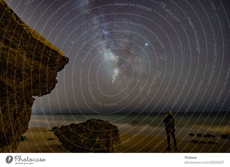 MilkyWay IV Environment Nature Landscape Elements Sky Cloudless sky Night sky Stars Horizon Rock Waves Coast Beach Ocean Observe Glittering Dark Gigantic