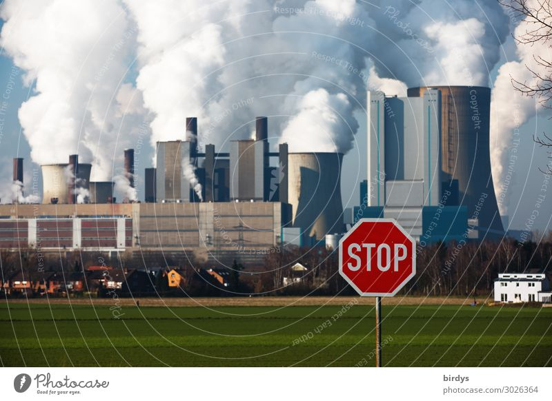 Stop climate killers Energy industry Coal power station Climate change Beautiful weather Meadow Field Niederaußem Road sign Signage Warning sign Stop sign