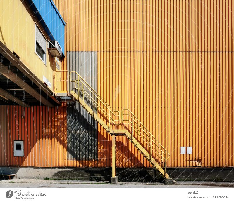 Port of Vienna Outskirts Facade Corrugated sheet iron Corrugated iron wall Stairs Ladder Warehouse Harbour Tin sheet metal Metal Sharp-edged Simple Large Tall