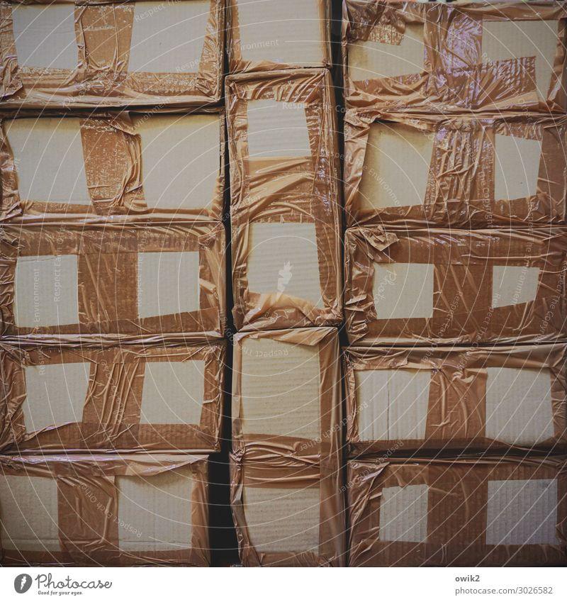poppycock Home improvement store Package Stack Adhesive tape Cardboard Cardboard box Plastic Dark Sharp-edged Simple Together Glittering Brown Arrangement