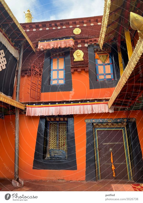 temple house House (Residential Structure) Architecture Facade Window Door Tourist Attraction Temple Gold Exotic Brown Orange Religion and faith Colour photo