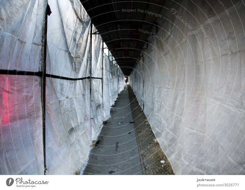Passage under the scaffolding Construction site Downtown Berlin Scaffold Covers (Construction) Plastic Authentic Gloomy Under White Safety Protection