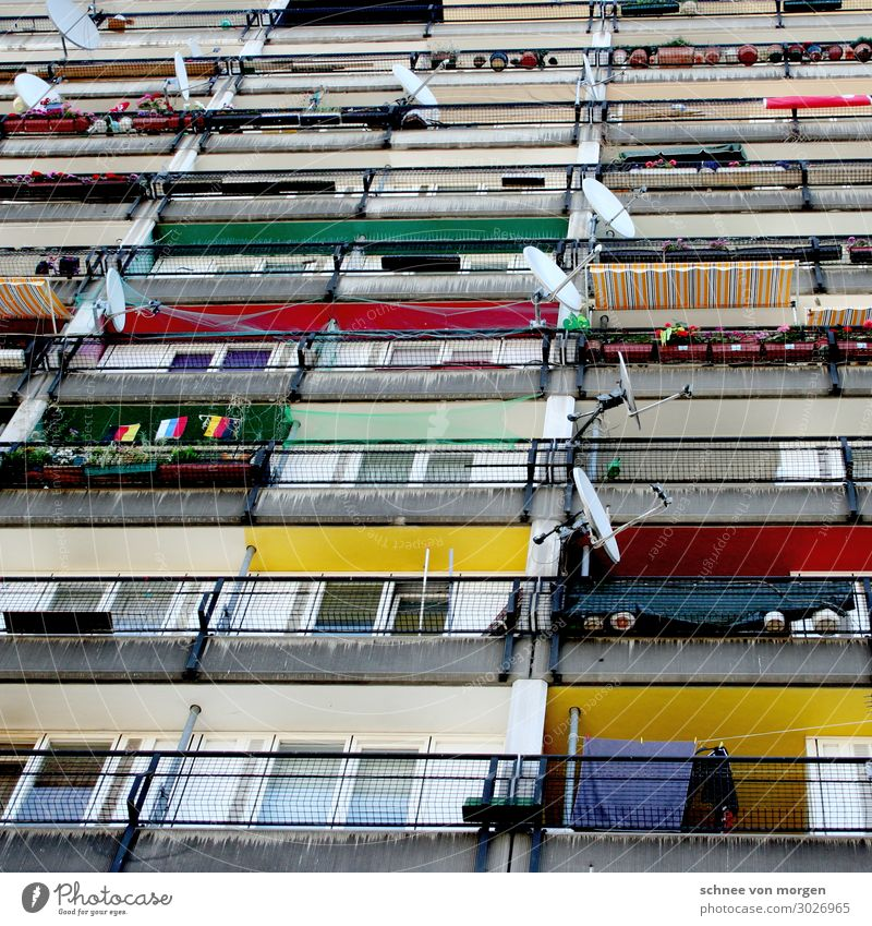 """aligned High-rise Manmade structures Building Architecture Facade Balcony Sharp-edged Multicoloured Indifferent Comfortable Aggression Force """"berlin Satellite"""