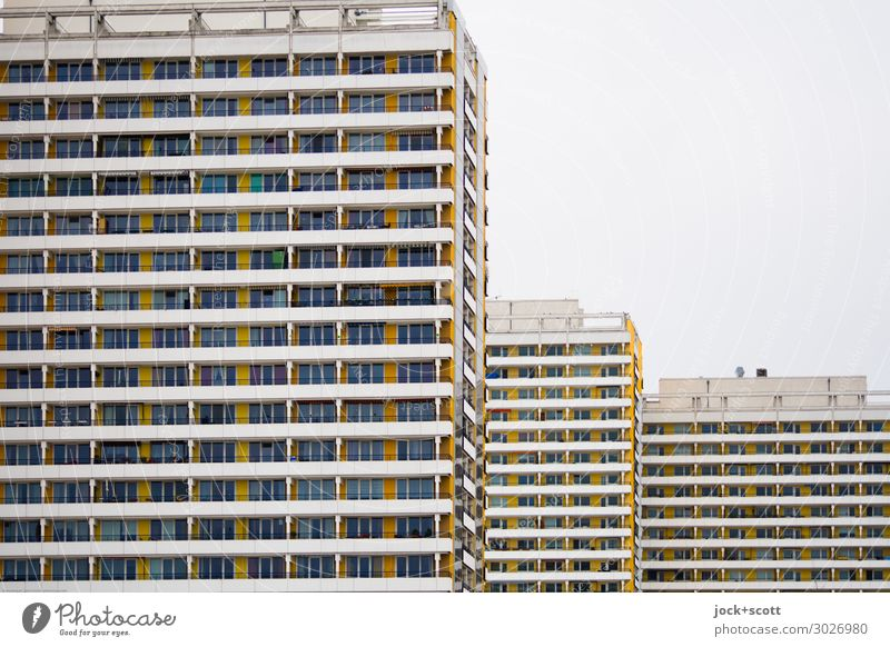 home & madness Functionalism Sky Marzahn Prefab construction Town house (City: Block of flats) Tower block Facade Line Stripe Authentic Sharp-edged great