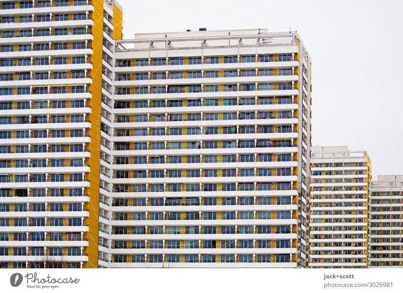 flat & high Sky Town Facade Retro Tall Many Prefab construction Marzahn Functionalism