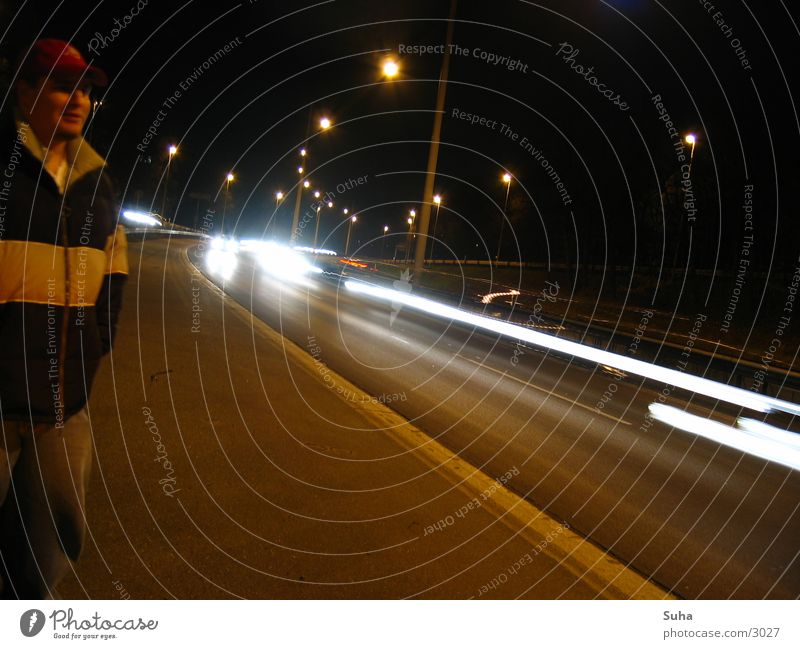 The breakdown I Breakdown Highway Night Curb Transport car breakdown Car Light tow Strip of light