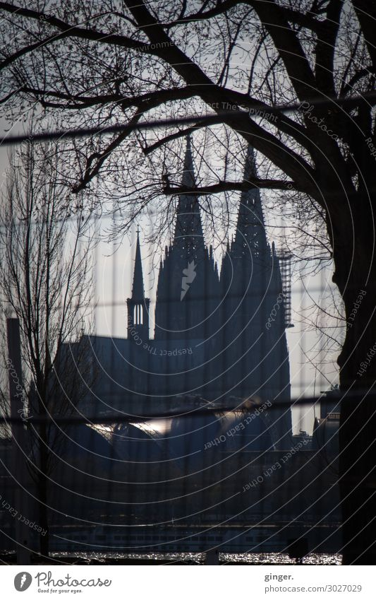 Darkside of Cologne - Cathedral View Town Downtown Skyline Deserted Church Dome Manmade structures Architecture Tourist Attraction Landmark Cologne Cathedral