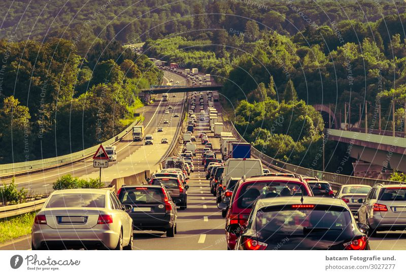 Traffic jam on the motorway Stop and Go Vacation & Travel Tourism Summer Summer vacation Transport Passenger traffic Rush hour Road traffic Motoring Street