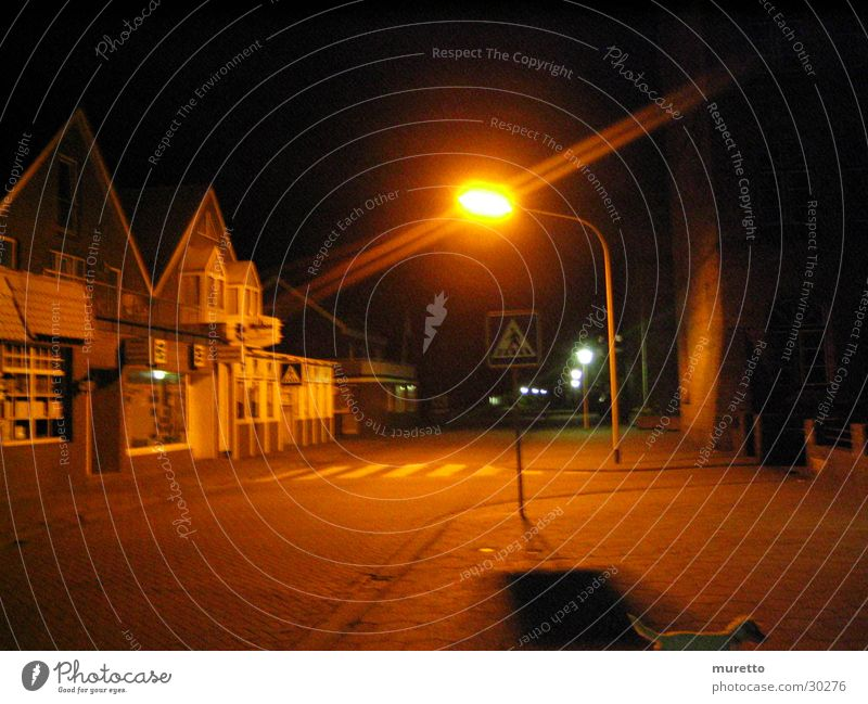 House (Residential Structure) Street Dark Lantern Sidewalk Street lighting Zebra crossing