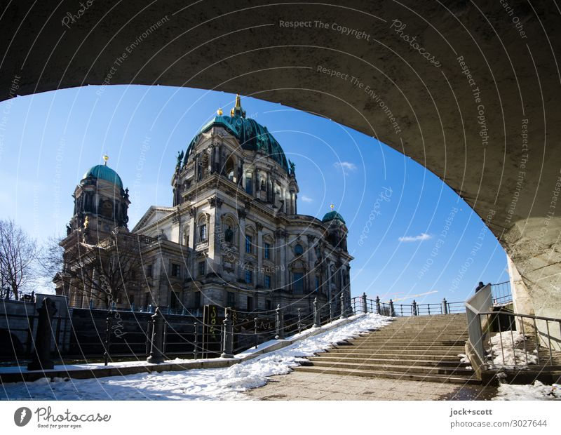 Berlin Cathedral Sightseeing Architecture Neo baroque Neo Renaissance Sky Clouds Winter Beautiful weather Snow Downtown Berlin Dome Bridge Stairs Sea promenade