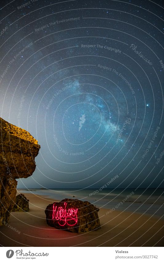 MilkyWay III Environment Nature Landscape Elements Sky Cloudless sky Night sky Stars Horizon Rock Waves Coast Beach Ocean Observe Glittering Dark Gigantic