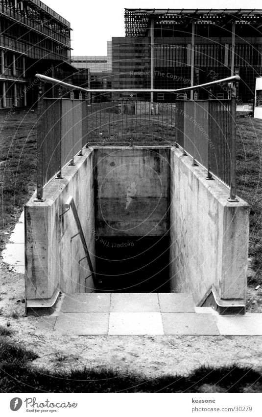 White Black Dark Metal Architecture Concrete Stairs Tunnel Handrail Lens Cellar