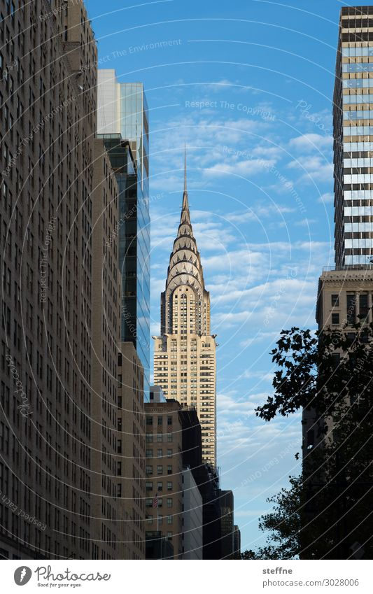 whirlier Town Downtown Skyline High-rise Facade New York City Chrysler Building Manhattan USA Tourist Attraction Tourism Blue sky Colour photo Exterior shot