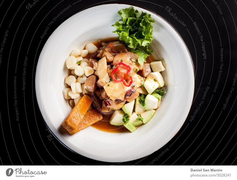 mushroom ceviche with Peruvian corn Food Meat Vegetable Lettuce Salad Nutrition Eating Lunch Dinner Buffet Brunch Banquet Organic produce Vegetarian diet Diet