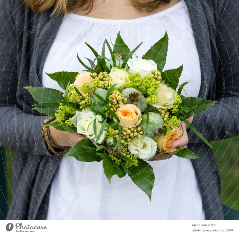 Woman Nature Summer Green White Flower Love Spring Happy Orange Gray Wedding To hold on Bouquet Bride Marriage proposal