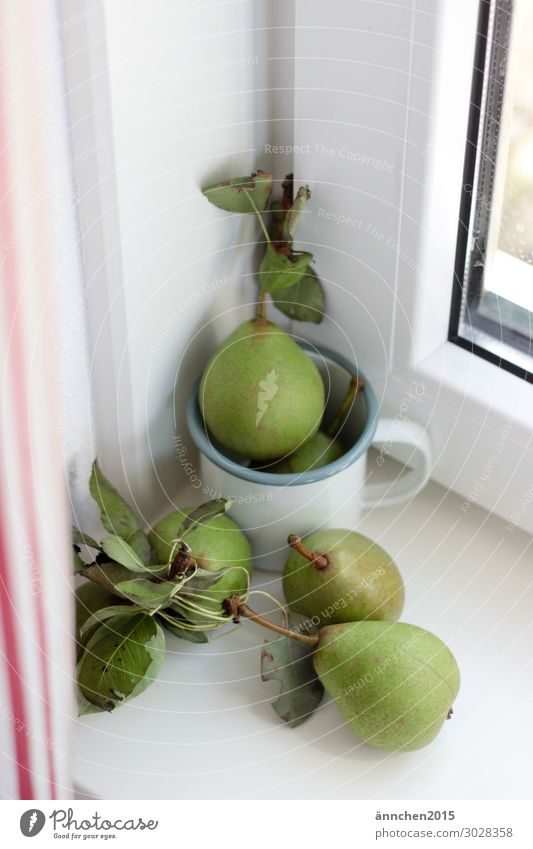 Hello Autumn Pear Fruit Summer Green Interior shot Curtain Window Cup Leaf Pick Healthy Eating Dish White Red Striped Window board Cozy Happy