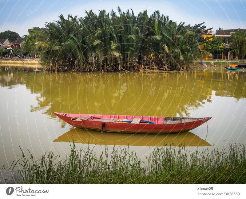 Red boat in the river Beautiful Vacation & Travel Nature Landscape Sky River Watercraft Asia fishing palms peaceful scenery Vantage point water. trees vietnam
