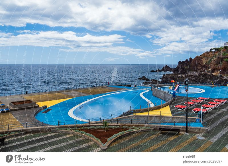 Swimming pool in Funchal on the island of Madeira, Portugal Relaxation Vacation & Travel Tourism Ocean Island Nature Landscape Water Clouds Climate Weather Rock