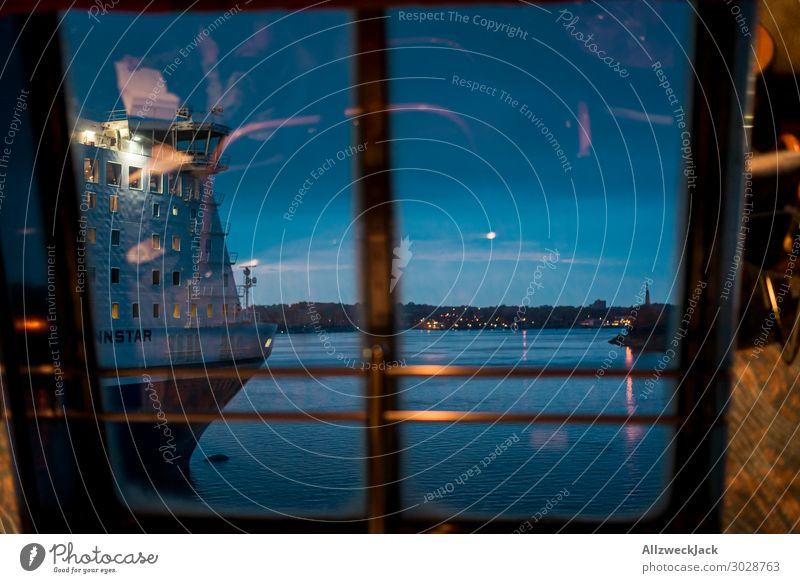Twilight at the harbour with a view of a ferry Deserted Evening Night Dark Sunset Harbour Water Ferry Horizon Watercraft Reflection Window Panorama (View)