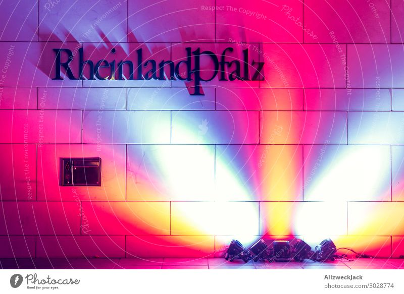 Rhineland Palatinate letters and light Wall (barrier) Wall (building) Light Multicoloured Light and shadow Deserted Typography Letters (alphabet)