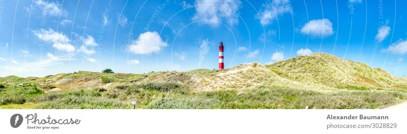Panorama - red white lighthouse on the north sea Vacation & Travel Tourism Trip Beach Nature Air Traffic Control Tower Flag Maritime panorama border Amrum ocean