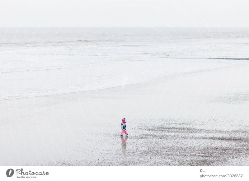 Child Human being Vacation & Travel Nature Water Landscape Ocean Loneliness Joy Far-off places Beach Life Environment Coast Happy Playing