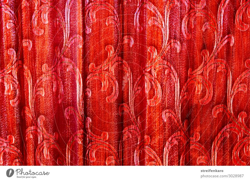 Light behind folds - old red curtain with tendril pattern hanging in folds in front of a window Living or residing Flat (apartment)