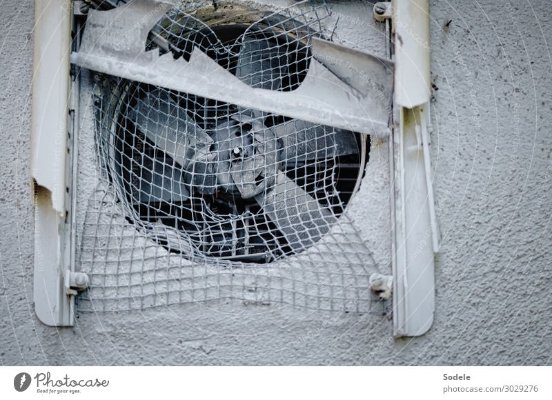 ventilation problem Ruin Facade Fan Plastic Old Authentic Hideous Broken Trashy Gloomy Town Gray Apocalyptic sentiment Transience Grating Industrial wasteland