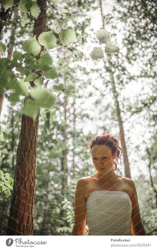 #A# Forest Wedding Art Esthetic Fairy Fantastic Bride Wedding dress Bridal veil Nature Exterior shot Green Clearing Colour photo Subdued colour Detail
