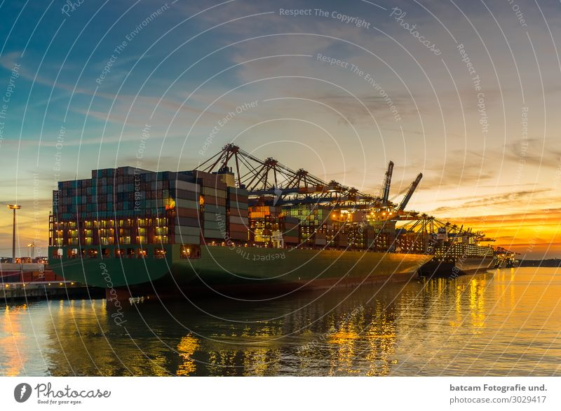 Container ship in the port of Hamburg at sunset Landscape Night sky Sunrise Sunset Spring Summer Autumn Coast River bank Transport Navigation Harbour Beautiful