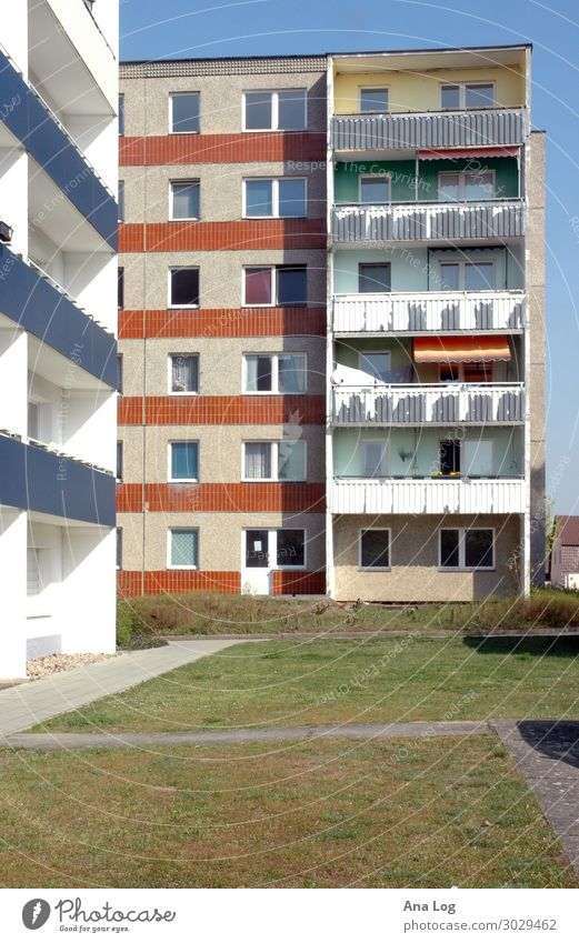 flat House (Residential Structure) Construction site Architecture Grass Deserted High-rise Places Facade Balcony Concrete Old Authentic Blue White Uniqueness
