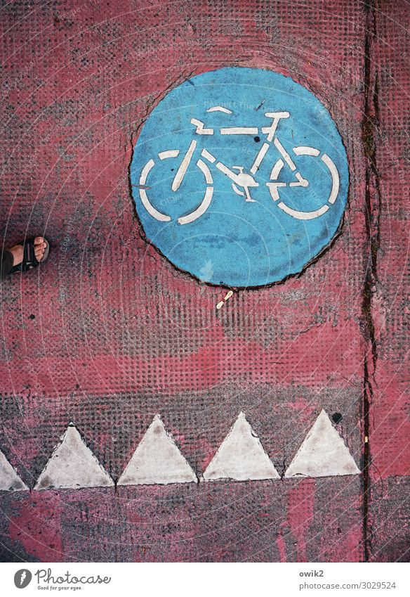 rack railway Transport Means of transport Traffic infrastructure Passenger traffic Cycle path Vehicle Sign Signage Warning sign Round Under Town Blue Red