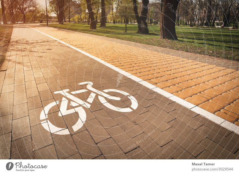 White bike path sign Vacation & Travel Sports Cycling Park Town Transport Street Lanes & trails Vehicle Line Gray Safety Kiev Natalka Obolon Ukraine bicycle