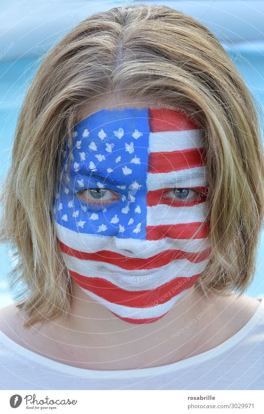 Woman Human being Blue Face Laughter Together Smiling USA Painting (action, artwork) Painting (action, work) Flag Americas Mask American Flag Select Painted