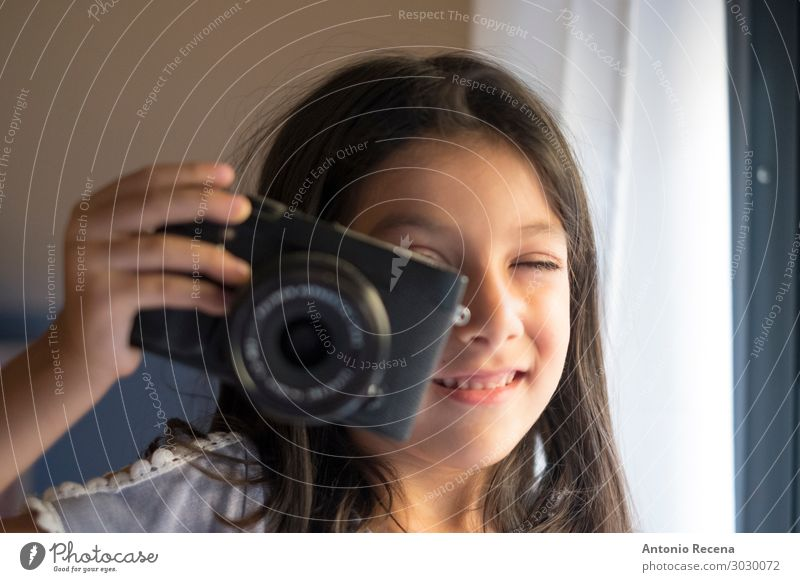 six year old girl taking photos Lifestyle Happy Playing Child Camera Smiling Small 6s six years old Photographer mirrorless Evil objective Take Illustration