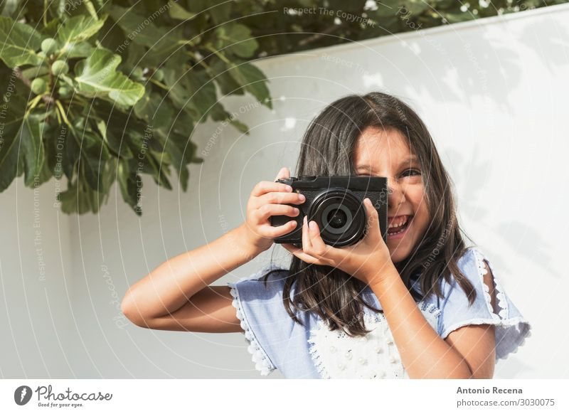 six year old girl photographer Happy Playing Child Camera Human being Girl 1 Smiling 6s six years old Photographer mirrorless Evil objective Take Illustration