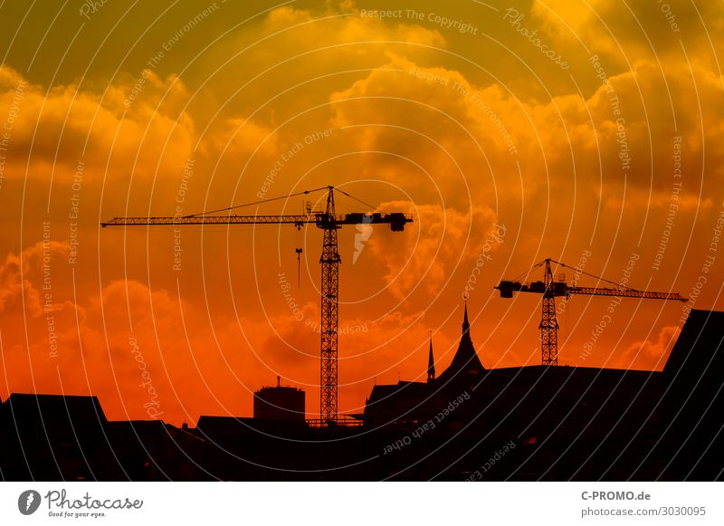 Sky Red Clouds Work and employment Construction site Haze Church spire Rostock Construction crane Hanseatic City