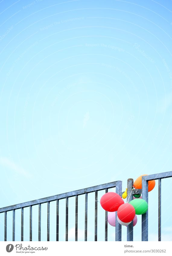 Sky Time Together Infancy Arrangement Creativity Beautiful weather Transience Balloon Handrail Attachment Fence Surprise Concentrate Irritation Motionless