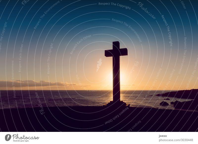 Sky Vacation & Travel Summer Blue Beautiful Landscape Sun Ocean Calm Black Religion and faith Orange Brown Horizon Idyll Island