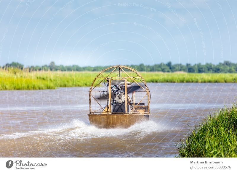 Airboat ride in the swamps of Texas, Gulf of Mexico Relaxation Vacation & Travel Tourism Nature Landscape Sky Grass Park Lake River Watercraft Natural New Wild
